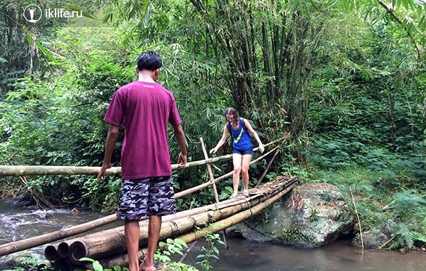 идём по джунглям к водопаду