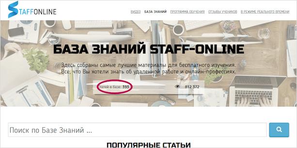 Стафф онлайн база зананий
