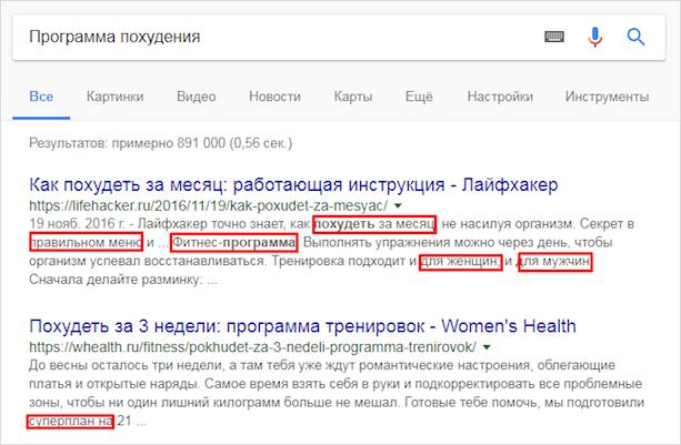 Анализ сниппетов