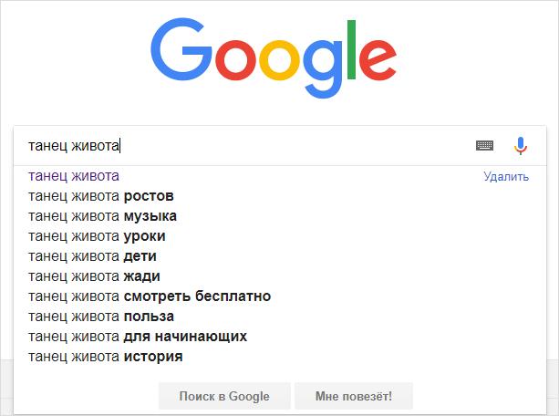 Поисковый запрос в Гугл