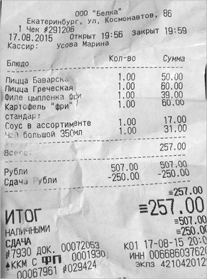 Расшифровка чеков