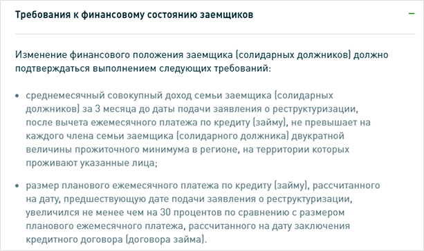 Изображение - Реструктуризация долга по кредиту - что это такое trebovaniya-k-finansovomu-sostoyaniyu-zaemshchikov