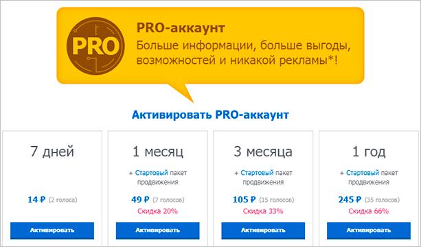 """Стоимость PRO-аккаунта в """"Мои гости"""""""