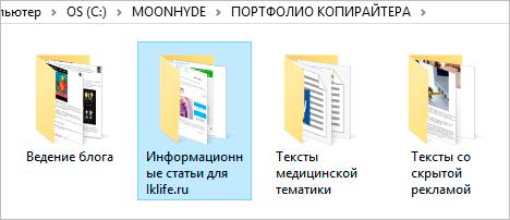 Портфолио на компьютере