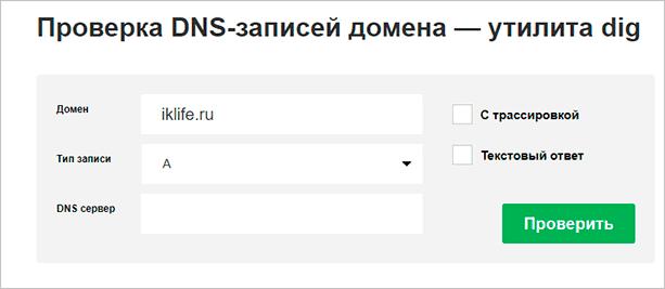 Проверка DNS-записей домена через утилиту Dig