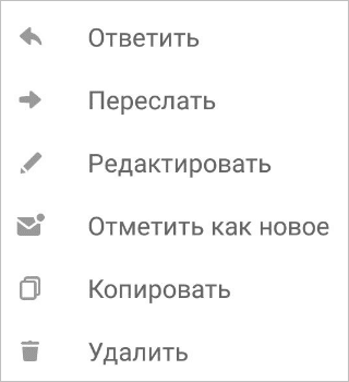 Возможные действия с сообщением