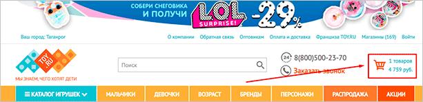 Раздел на сайте toy.ru