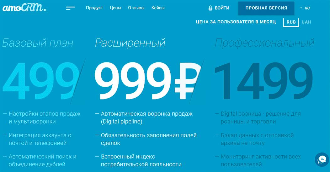 Цены на использование AmoCRM