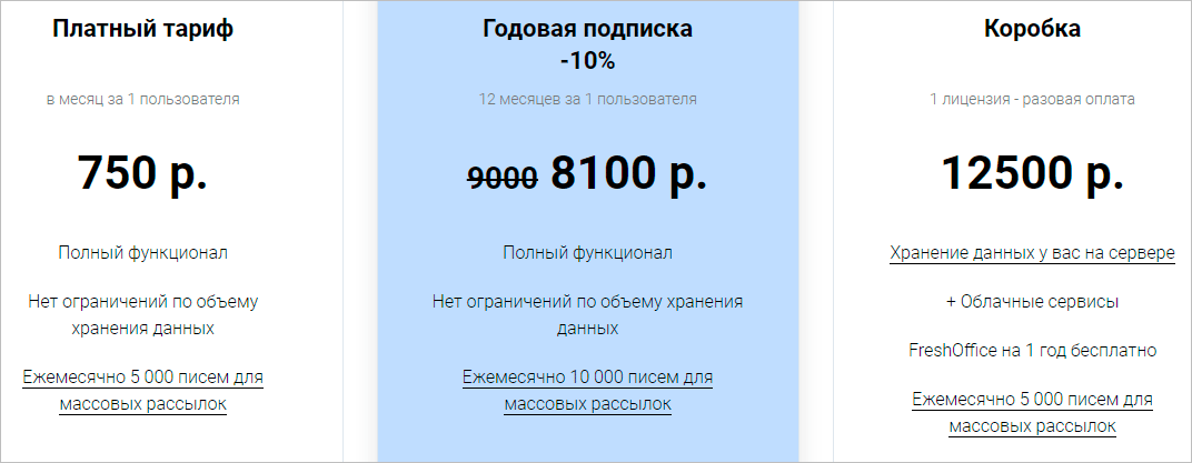 Тарифы на FreshOffice