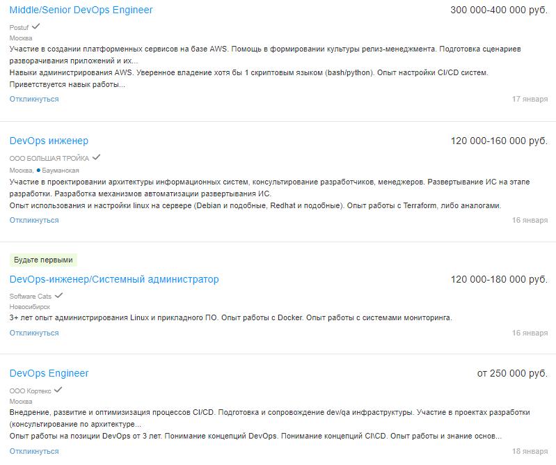Вакансии DevOps-инженера на hh.ru