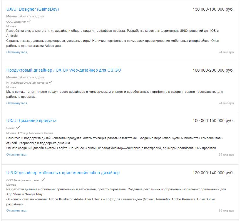 Вакансии для UX-дизайнеров на hh.ru